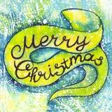 Glad jul för vattenfärginskrift Bokstäver kalligrafi, feriekort Royaltyfri Foto