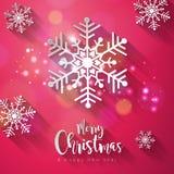 Glad jul för vektor och illustration för lyckligt nytt år på skinande snöflingabakgrund med typografibeståndsdelen och länge Fotografering för Bildbyråer