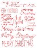 Glad jul för vektorinskrift Räkningstitel Teckna förbi handen bokstäver Orden bokstäver Isolerat på vit klotter Royaltyfria Bilder
