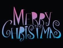Glad jul för vektorinskrift Räkningstitel Teckna förbi handen bokstäver Orden bokstäver Isolerat på vit klotter Arkivbild