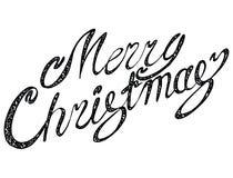 Glad jul för vektorinskrift Räkningstitel Teckna förbi handen bokstäver Orden bokstäver Isolerat på vit klotter Royaltyfri Foto