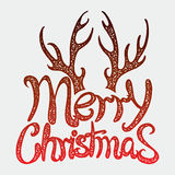 Glad jul för vektorinskrift Räkningstitel Teckna förbi handen bokstäver Orden bokstäver Isolerat på vit klotter Arkivbilder