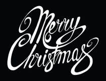Glad jul för vektorinskrift Räkningstitel Teckna förbi handen bokstäver Orden bokstäver Isolerat på vit klotter Royaltyfri Bild