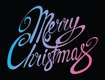 Glad jul för vektorinskrift Räkningstitel Teckna förbi handen bokstäver Orden bokstäver Isolerat på vit klotter Royaltyfria Foton