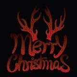 Glad jul för vektorinskrift Räkningstitel Teckna förbi handen bokstäver Orden bokstäver Isolerat på vit klotter Fotografering för Bildbyråer
