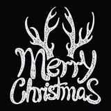 Glad jul för vektorinskrift Räkningstitel Teckna förbi handen bokstäver Orden bokstäver Isolerat på vit klotter Arkivfoto