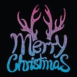 Glad jul för vektorinskrift Räkningstitel Teckna förbi handen bokstäver Orden bokstäver Isolerat på vit klotter Royaltyfri Fotografi