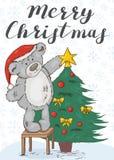 glad jul Festligt kort med en nallebjörn stock illustrationer