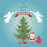 Glad jul för hälsningkort och lyckligt nytt år med jultomten clau Royaltyfri Fotografi