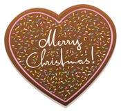Glad jul för pepparkakahjärta Royaltyfri Fotografi