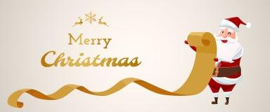 glad jul Gammalt papper Santa Claus för kontrollerande lista vektor illustrationer