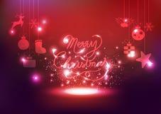Glad jul, garnering, berömstjärnor tänder neon, glowi vektor illustrationer
