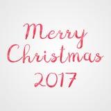 Glad jul hälsning 2017, låga poly rosa färger och röd vektor Royaltyfria Bilder