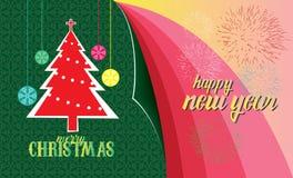 Glad jul & hälsningkort för lyckligt nytt år Arkivbilder