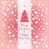 Glad jul & hälsningkort för lyckligt nytt år Röd bakgrund för rosa färg- och vitvektorsnöflinga Fotografering för Bildbyråer