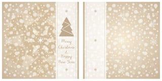 Glad jul & hälsningkort för lyckligt nytt år Vektorsnöflingabakgrund Royaltyfria Foton