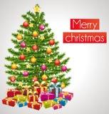 Glad jul. Hälsningkort med det dekorerade trädet. Arkivbilder