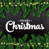 glad jul Hälsningkort med granfilialer och neon Garlan royaltyfri illustrationer