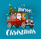 Glad jul, hälsningskort Lyckliga Santa Claus rider i den retro bilen som laddas med gåvor Xmas-vektorillustration Royaltyfri Bild