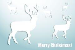 Glad jul. Hjortar. Royaltyfri Illustrationer