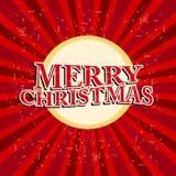 Glad jul i cirkel över retro röda strålar Royaltyfri Fotografi