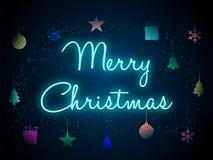 Glad jul i neonbokstäver också vektor för coreldrawillustration royaltyfri illustrationer