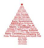 Glad jul i olika språk royaltyfri illustrationer