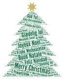 Glad jul i olikt språkordmoln stock illustrationer