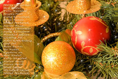 Glad jul i språk Royaltyfria Foton