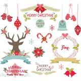 Glad jul, jul blommar, hjortar, lantlig jul, kransen, julgarneringuppsättning royaltyfri illustrationer