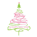 Glad jul, julgran Shape Stock Illustrationer