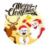 Glad jul, jultomten hjortar och snögubbe royaltyfri illustrationer
