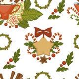 Glad jul kaffe eller te, sömlös modell för varm dryck som isoleras på den vita vektorn stock illustrationer