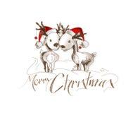 Glad jul! Knapphändig teckning för tecknad filmstilhand av par av royaltyfri illustrationer