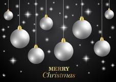 Glad jul, kortet för nytt år och blänker garnering Svart och guld- bakgrund med julbollar royaltyfri illustrationer