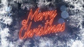 Glad jul kretsar/rött neon med fallande snö arkivfilmer
