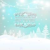Glad jul landskap, bakgrund för vektor för ljus för julhälsningkort För ferieönska för glad jul design och royaltyfri illustrationer