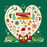 Glad jul & lyckligt nytt år Vektor Illustrationer