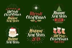 Glad jul, lyckligt nytt år, etikettuppsättning Xmas, jultid, feriesymbol eller logo Bokstäver kalligrafivektor stock illustrationer