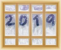 Glad jul & lyckligt nytt 2019 år frostat fönster royaltyfri illustrationer