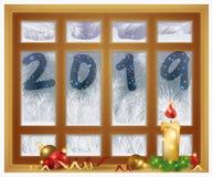 Glad jul & lyckligt nytt 2019 år frostat fönster med xmas-stearinljuset, vektor stock illustrationer