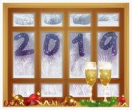Glad jul & lyckligt nytt 2019 år frostat fönster och champagne, vektor vektor illustrationer