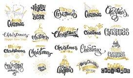 glad jul lyckligt nytt år Handskriven modern borstebokstäver, typografiuppsättning stock illustrationer