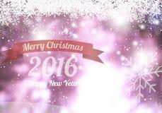 Glad jul & lyckligt nytt år 2016 med snö Fotografering för Bildbyråer