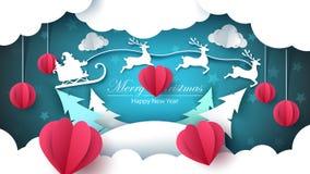 Glad jul, lyckligt nytt år - pappersillustration stock illustrationer