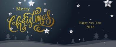 Glad jul & lyckligt nytt år 2018 som är calligraphic, typ Royaltyfri Fotografi