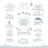 glad jul Lyckligt nytt år 2017 Typografiuppsättning Vektorlogo, emblem, textdesign Användbart för baner och att hälsa vektor illustrationer
