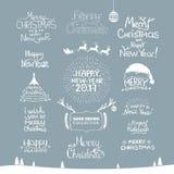 glad jul Lyckligt nytt år 2017 Typografiuppsättning Vektorlogo, emblem, textdesign Användbart för baner och att hälsa Arkivbild