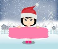 Glad jul med den lyckliga ungevektorn Arkivfoto