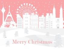 Glad jul med den vita staden och att snöa, vektorbild stock illustrationer